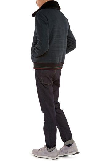 Blouson aviateur à carreaux noirs et verts avec col en fausse fourrure  amovible 706acace3f0b