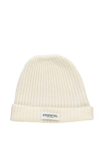 Bonnet côtelé blanc en laine-cachemire - Essentiel Antwerp France e76212b62abf