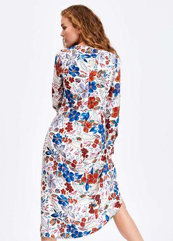 8fed9f3704ac84 Gebroken witte midi-jurk met bloemen - Essentiel Antwerp Belgie