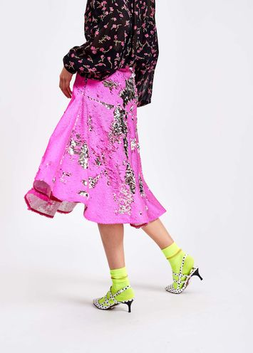 488174d36c162f Hot pink and silver fully sequined skirt - Essentiel Antwerp Belgium