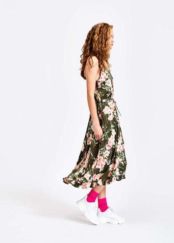 d06c3639ff74e Khaki floral summer dress - Essentiel Antwerp - EU store