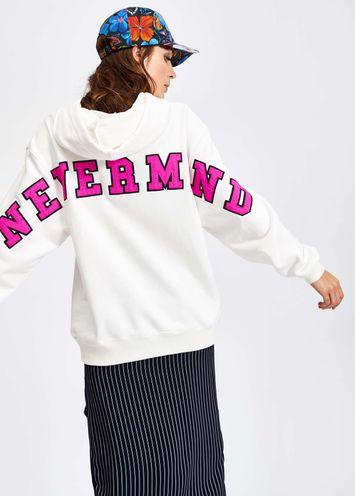 Witte Katoenen Trui.Gebroken Witte Katoenen Sweater Met Kap Essentiel Antwerp Nederland