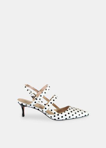 256198726de White kitten heels with black polka dots - Essentiel Antwerp UK