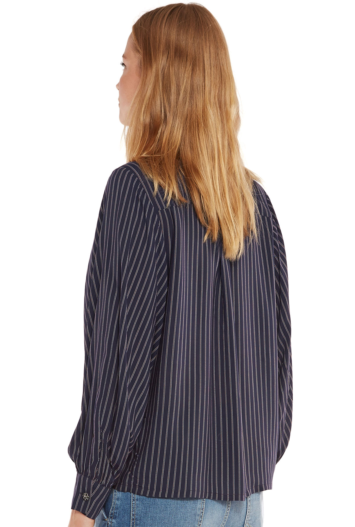 Blauw oversized hemd met rode strepen en pofmouwen - Essentiel Antwerp  Belgie 92e2f00059