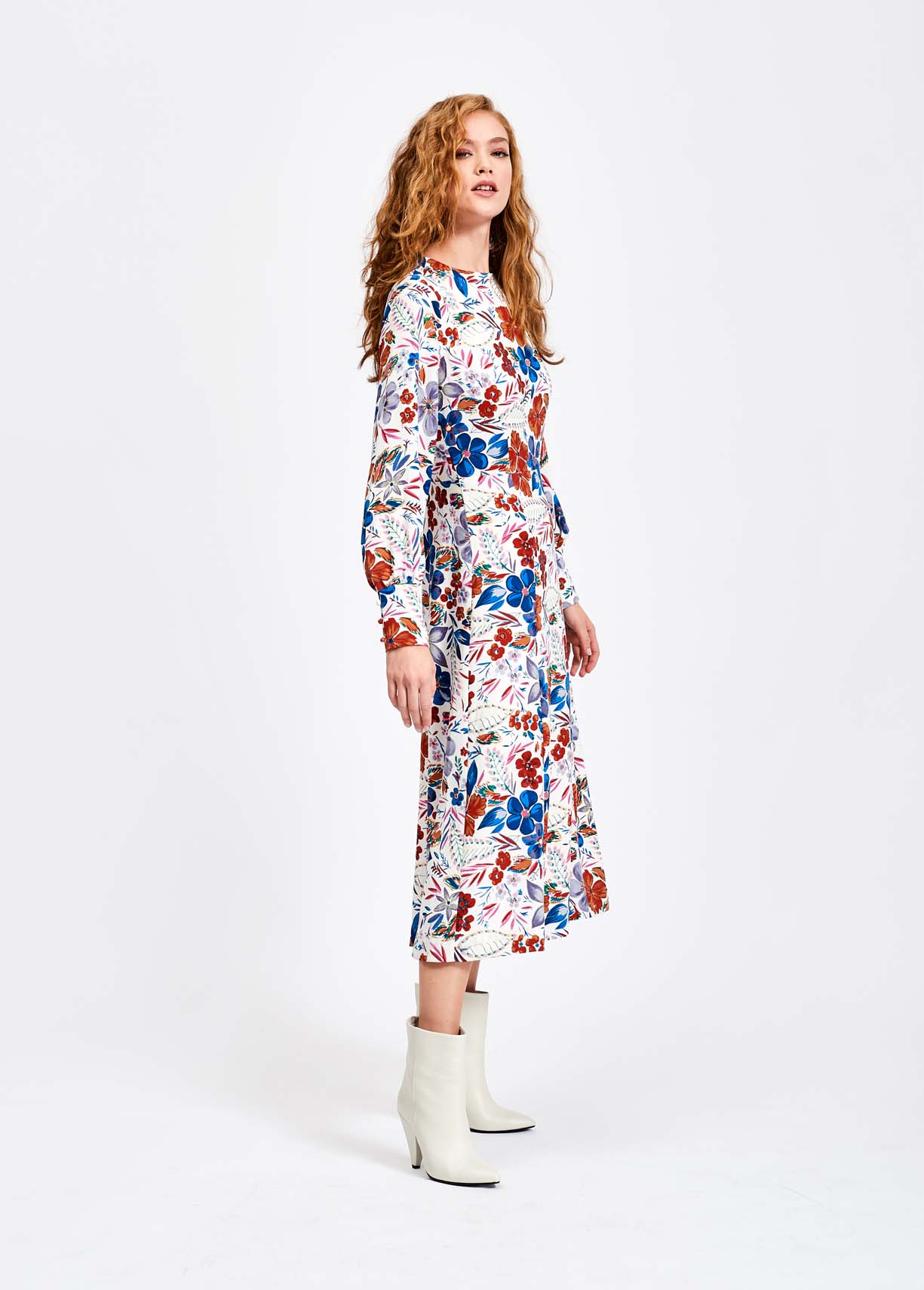 656b60b5fd5c Off-white floral midi dress - Essentiel Antwerp Belgium