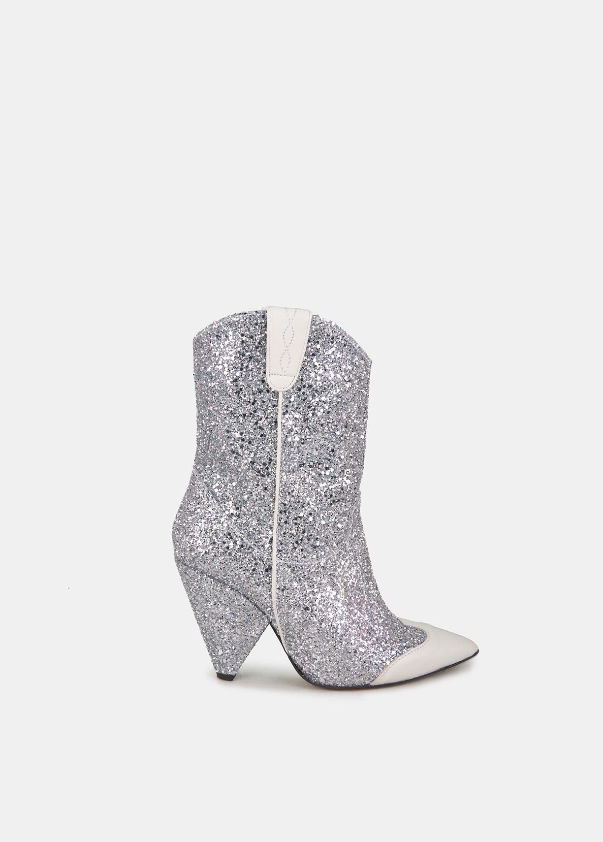 Silver glitter ankle boots - Essentiel